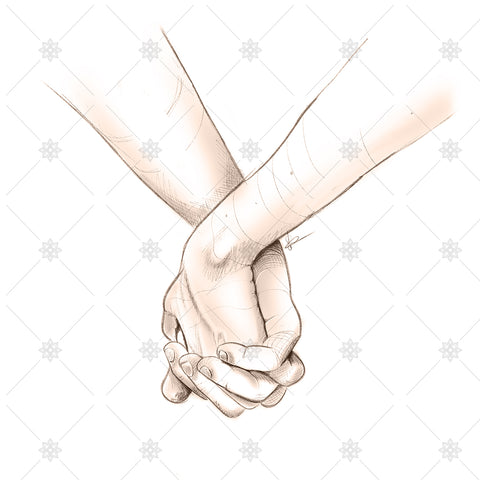 Holding hands pencil sketch - SK1034