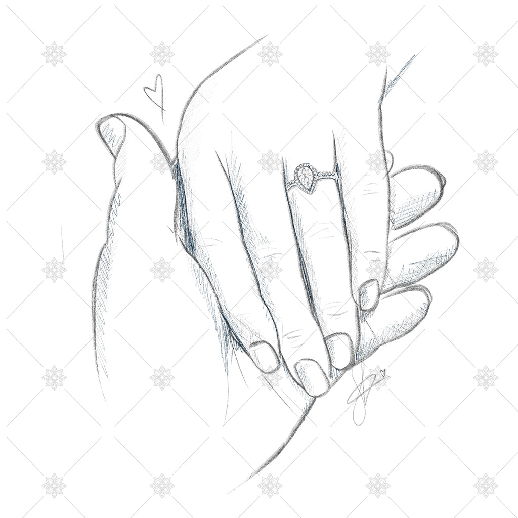 Engagement couple holding hands sk1037