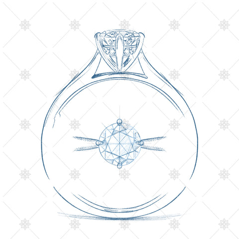 Solitaire Diamond Ring Sketch - SK1048