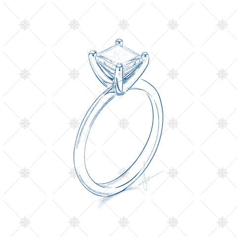 drawing of a diamond ring