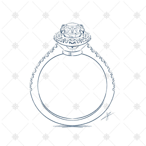 boodles style halo diamond ring sketch
