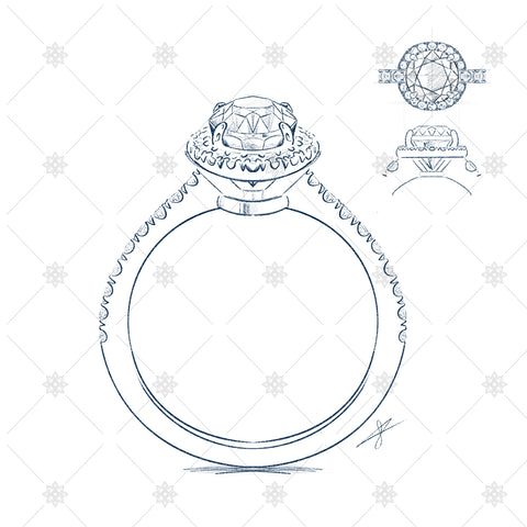 diamond ring sketches ortho views