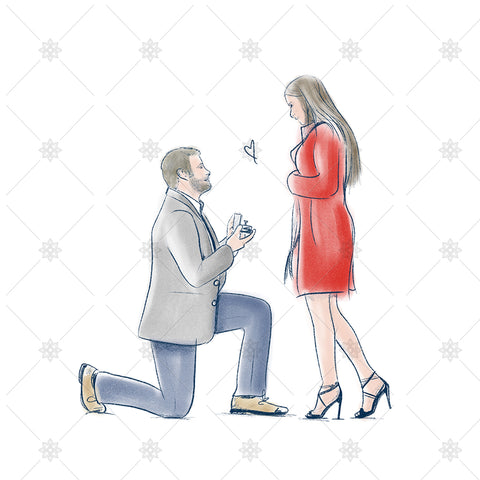 couple getting engaged sketch
