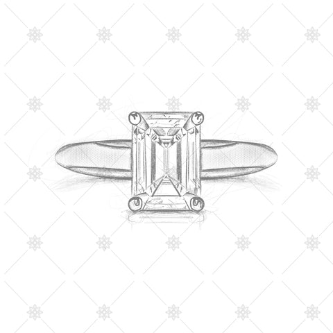 Emerald Diamond Ring Pencil Sketch - SK1018