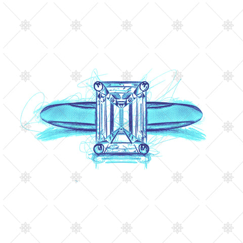Emerald Diamond Ring Drawing - SK1019