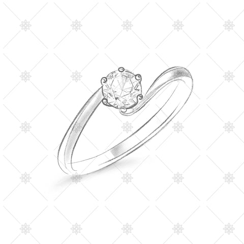 Solitaire Twist Ring Pencil Sketch - SK1020