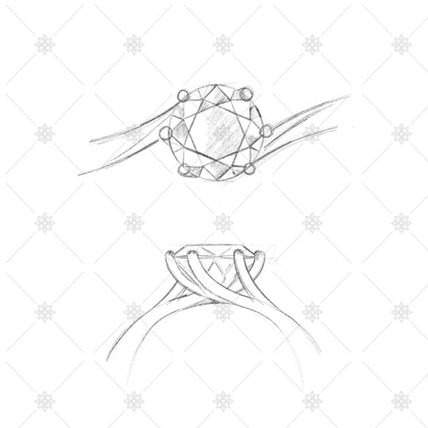 Solitaire Twist Ring pencil sketches - SK1022