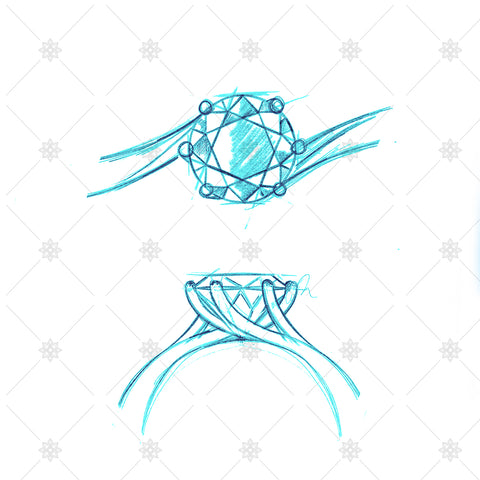 Solitaire Twist Ring coloured drawings - SK1023
