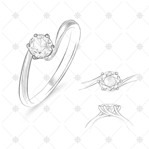 Solitaire Twist Ring Pencil Sketches - SK1024