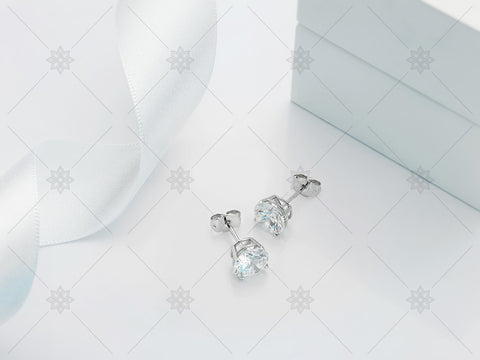 Diamond Stud Earrings - Studio Shot - MJ1021