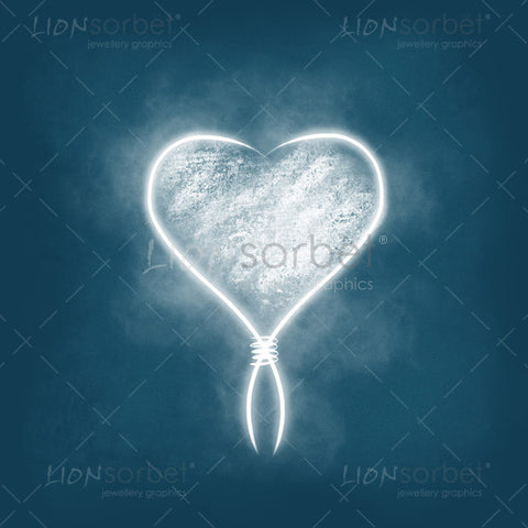 White Valentines Heart illustration on blue background