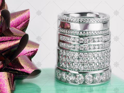 Diamond Ring Christmas Stack with ribbon   - WC1033