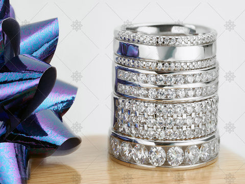 Diamond Ring Christmas Stack with ribbon   - WC1034