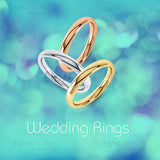 Wedding ring image pack, Yellow, White and Rose Gold in 4 colours