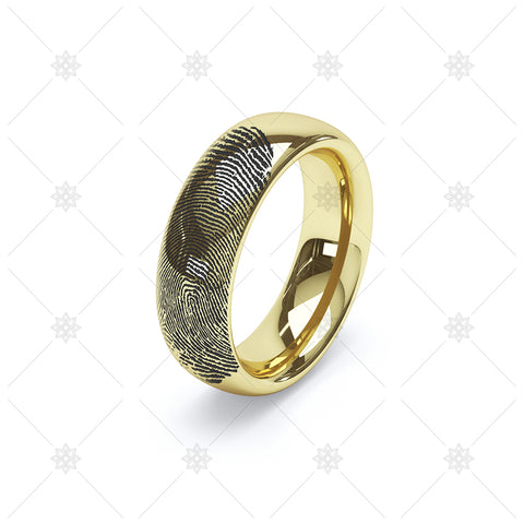 Finger Print Wedding Ring in Yellow Gold  - WP044