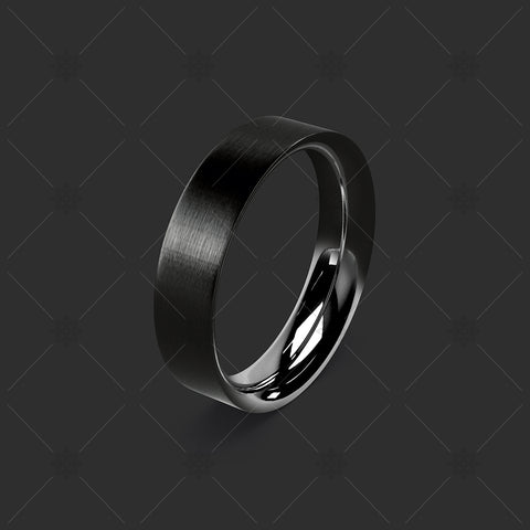 Black Zirconium Wedding Ring on Grey  - WP045