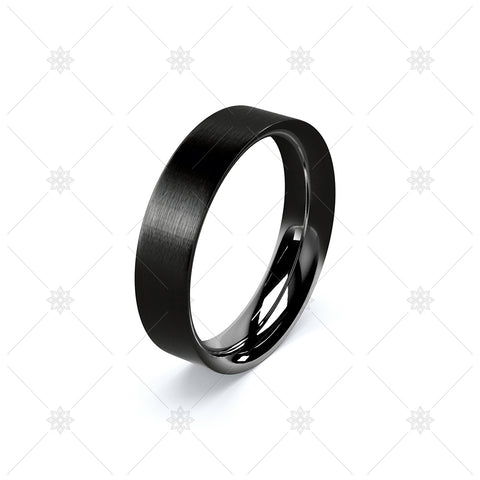 Black Zirconium Wedding Ring on White  - WP045