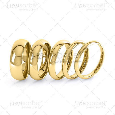Wedding ring widths - Yellow Gold