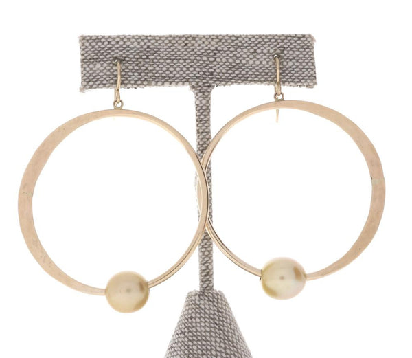 Golden South Sea Pearl Crescent Moon Hoops
