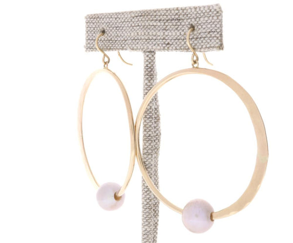 Freshwater Pearl Crescent Moon Hoops
