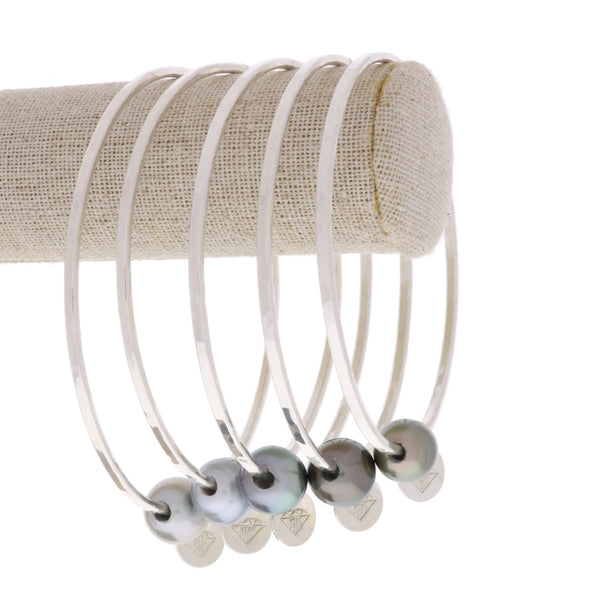 Tahitian Pearl Bangle in Silver