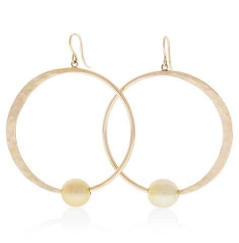 Golden Pearl Crescent Moon Hoops