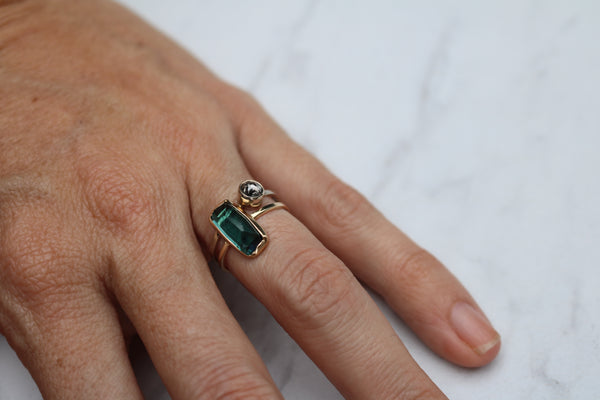 Green Tourmaline in Gold
