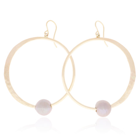 Pink Pearl Crescent Moon Hoops