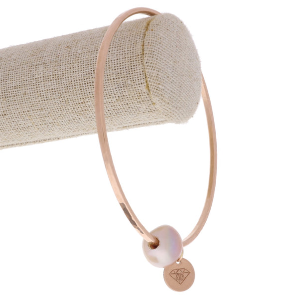 Edison Pearl Bangle in Rose Gold