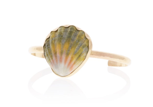 Custom Sunrise Shell Cuff Bracelet in Gold