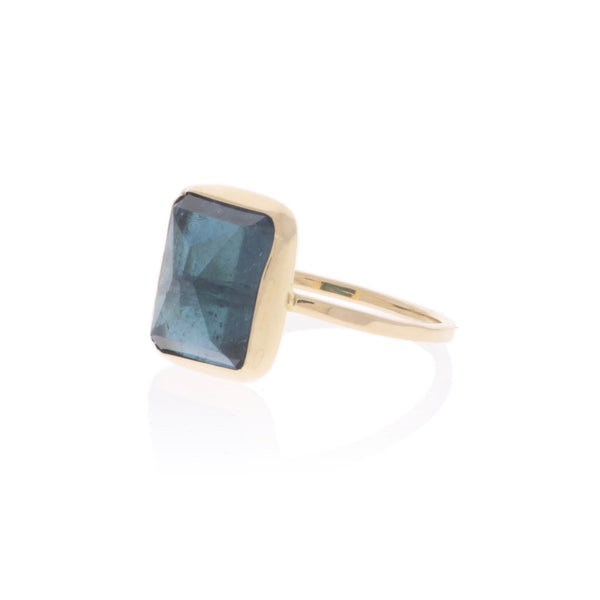 Blue Tourmaline in Solid Gold