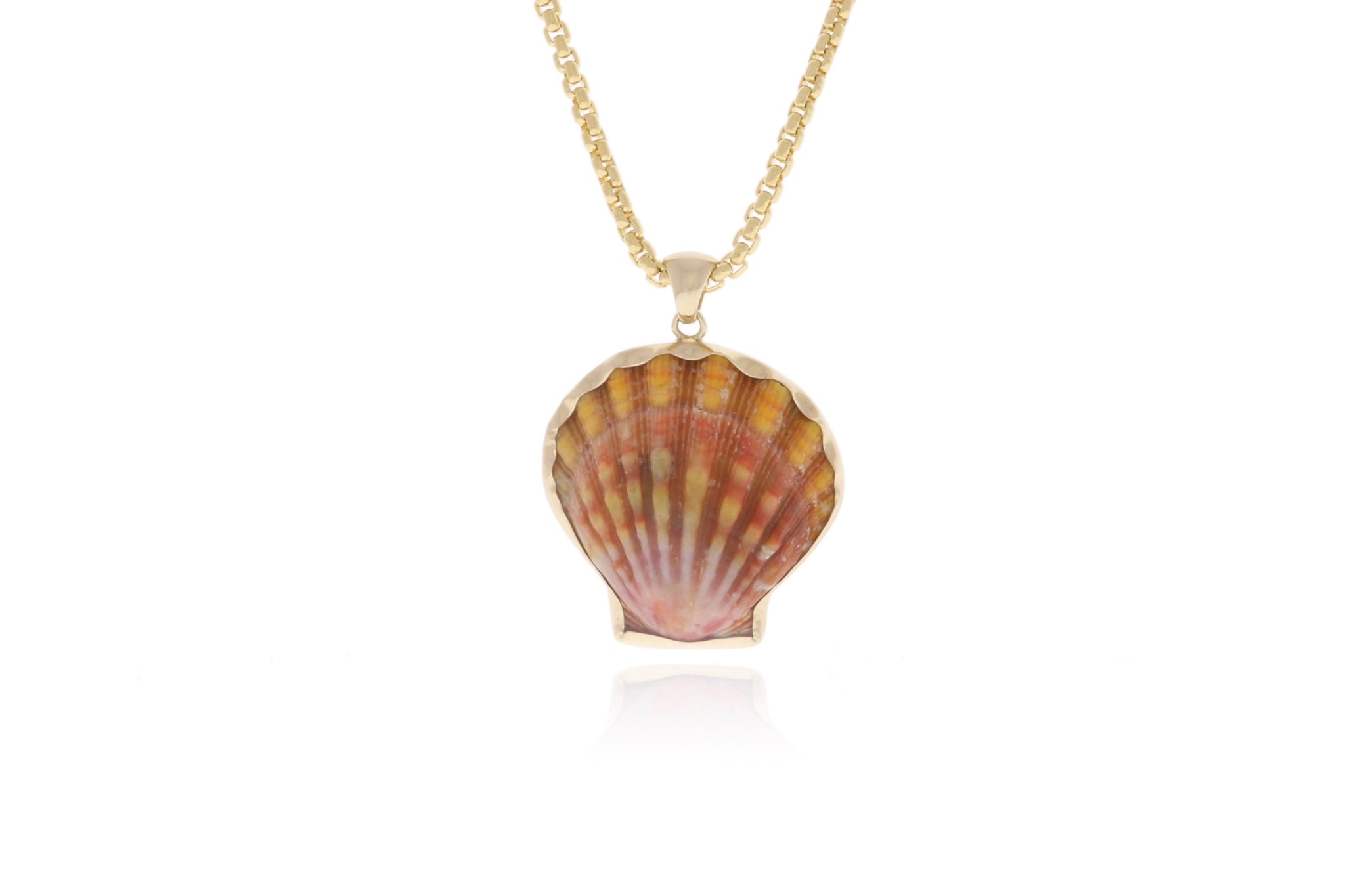 Vibrant Red Sunrise Shell Pendant in Gold