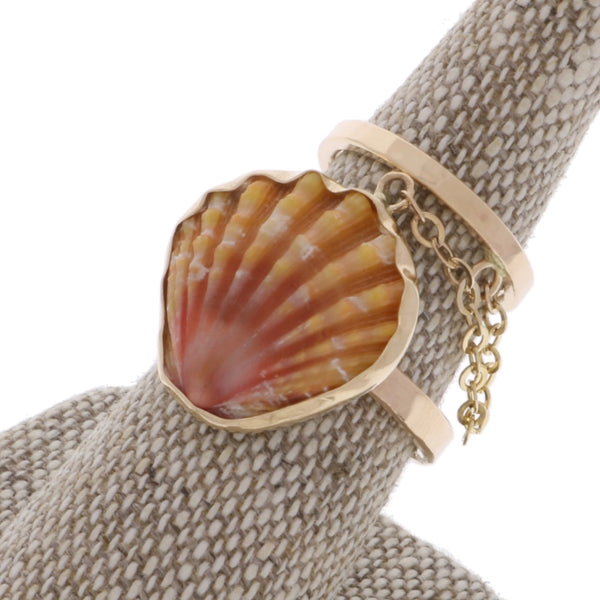Custom Sunrise Shell Linked Rings