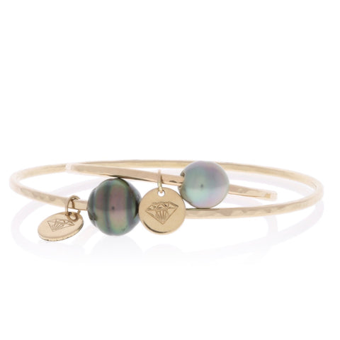 Mama and Baby Tahitian Pearl Bangle Set