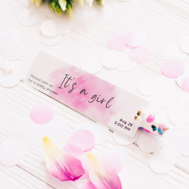 WATERCOLOR CUSTOM BABY SHOWER INVITATION BOOKMARK