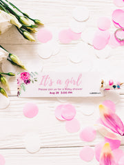 FLORAL CUSTOM BABY SHOWER INVITATION BOOKMARK