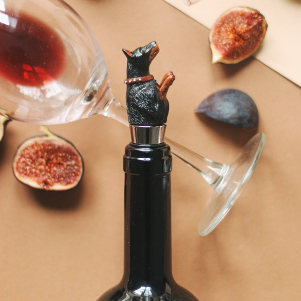 Doberman Bottle Stopper Holder