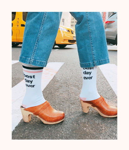 Best Day Ever Socks: White/Pink/Navy