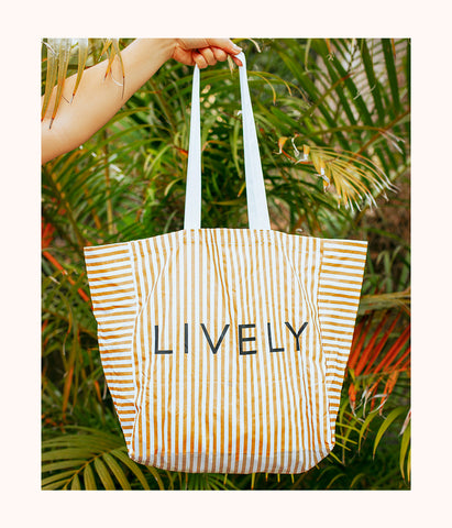 The Gold Stripe Tote: Gold Stripe/White