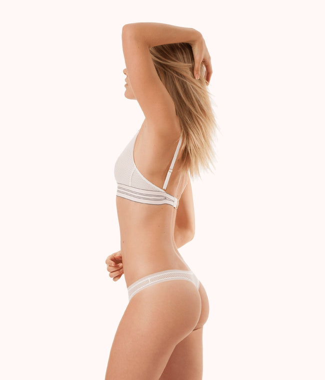 The Geo Lace Thong: Bright White