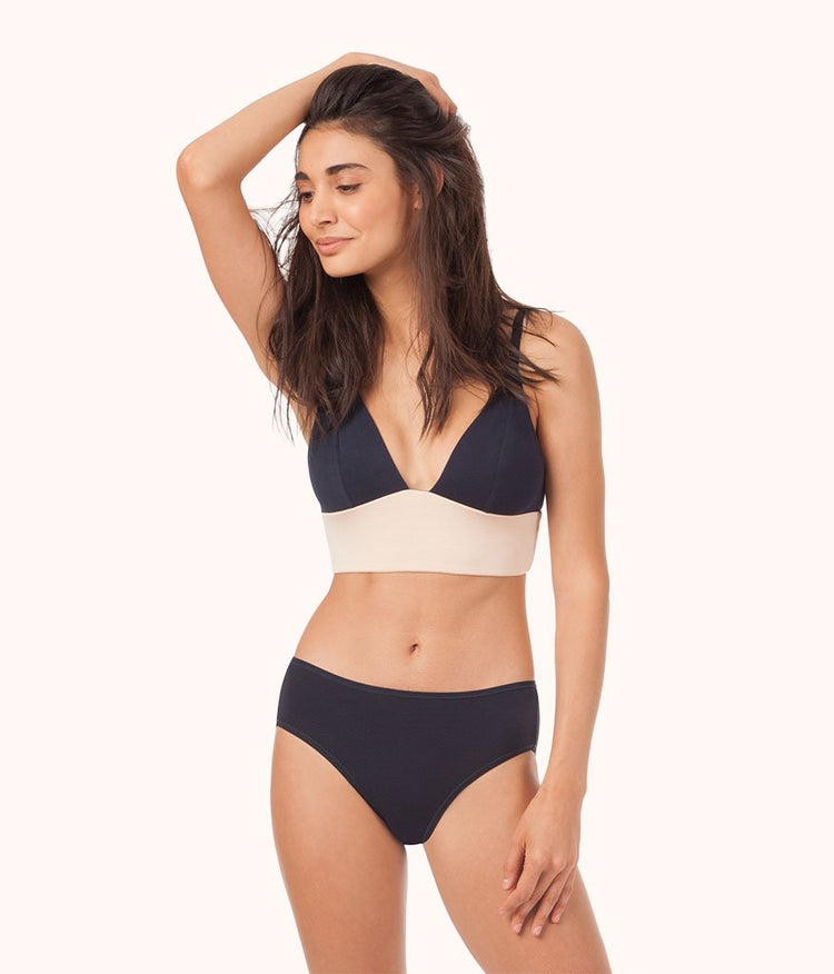 The All-Day Long-Lined Bralette: Midnight Navy/Toasted Almond