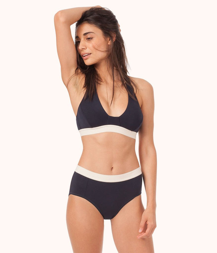 The All-Day T Back Bralette: Midnight Navy