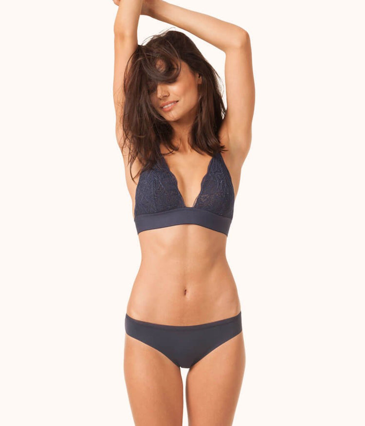 The Long-Lined Lace Bralette: Navy