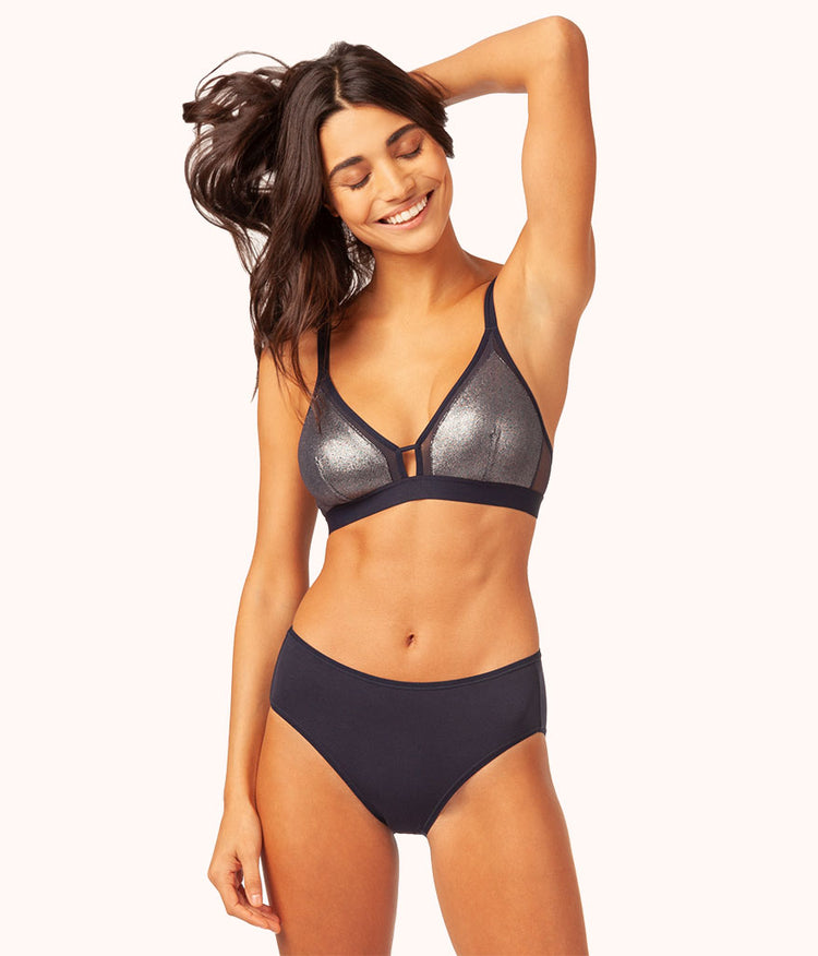 The Metallic Bralette: Midnight Navy