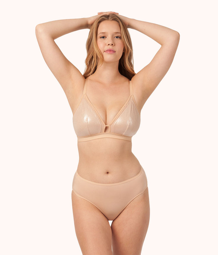The Metallic Busty Bralette: Toasted Almond