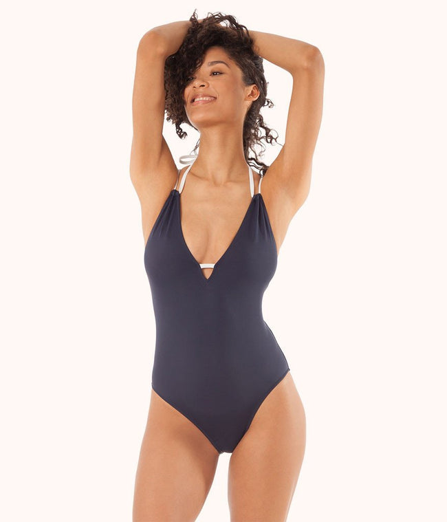 The Plunge One Piece: Navy/White
