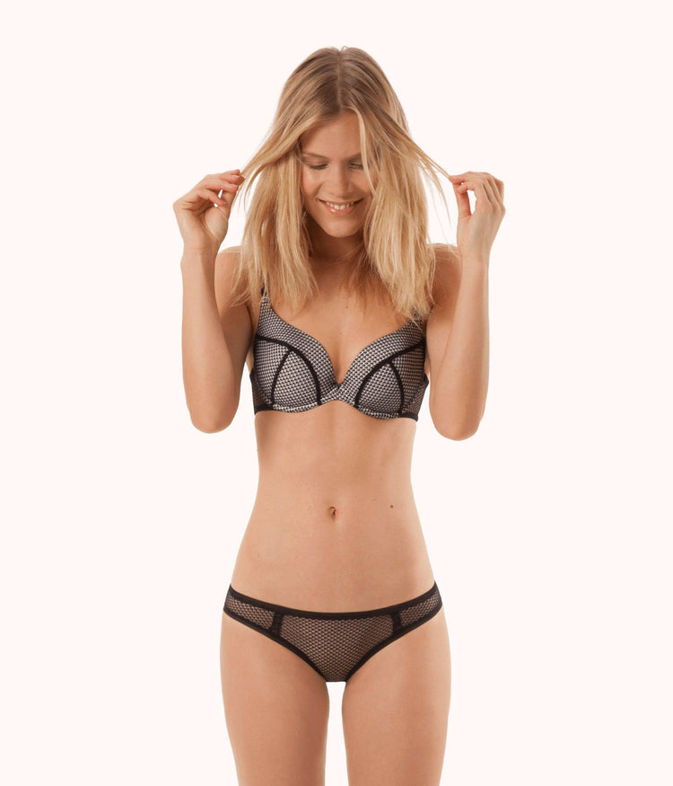 The Geo Lace Push-Up: Jet Black