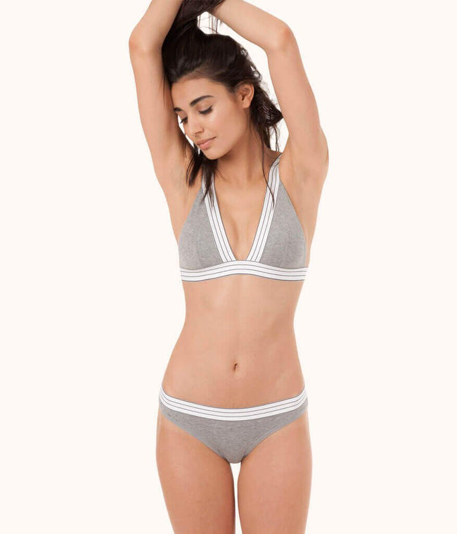 The Stripe Waist Bikini: Heather Gray