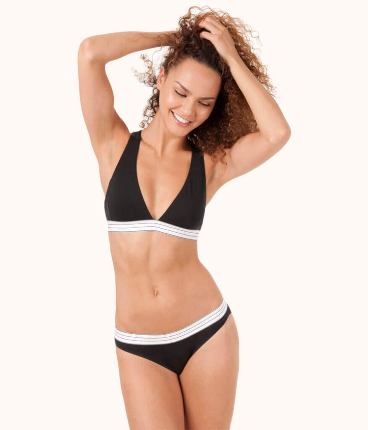 The Stripe Waist Bikini: Jet Black