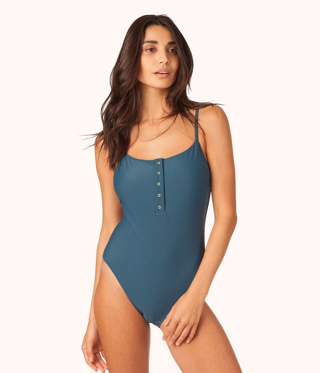 The Ribbed Henley One Piece: Teal Bay